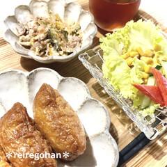 カネコ小兵製陶所 リンカ 12cmボウル(その他食器、カトラリー)を使ったクチコミ「朝ごはん ⭐️いなり寿司 ⭐️ゴーヤチャ…」