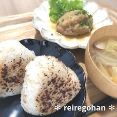 カネコ小兵製陶所 リンカ 17cmプレート(皿)を使ったクチコミ「お昼ごはん🍚  今日は焼きおにぎり🍙の気…」