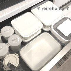 イワキ 保存容器 パック&レンジ 角型 4点セット ホワイト PTY-PRN-4W(食品保存容器)を使ったクチコミ「我が家の保存容器です🥰  イワキのガラス…」