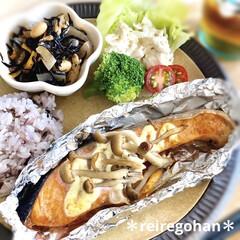 ル・クルーゼ ボウルミニ・フラワー・ボールスプリングコレクション 耐熱 耐冷 電子レンジ オーブ | Le Creuset(皿)を使ったクチコミ「お昼ごはん🍚 ⭐️雑穀米70g ⭐️鮭の…」