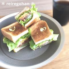 イッタラ カルティオ レイン 951201 タンブラー 210ml 2個入り | イッタラ(コップ、グラス)を使ったクチコミ「朝ごぱん🍞  サンドイッチの中身は ベー…」