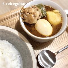 木村硝子店×イイホシユミコ dishes 180 plate | 木村硝子(お子様プレート、皿)を使ったクチコミ「晩ごはん🍛  旦那リクエストでスープカレ…」(1枚目)