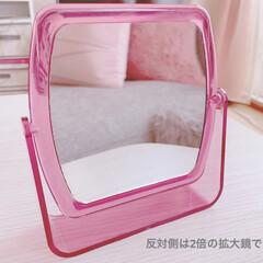ピンク/可愛い/ダイソー/拡大鏡/手鏡/鏡/... 【ダイソー】可愛らしいキャンディカラーの…(2枚目)