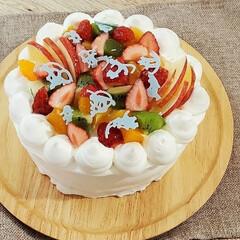 バースデイケーキ/手作りお菓子 お義父さんの誕生日なのでケーキ焼きました…(1枚目)