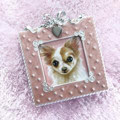愛犬/チワワ/絵画/わんこ/わんこのいる暮らし/インテリアフレーム/... 愛犬の肖像画が届きました。 女流画家:永…