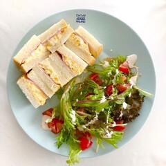 北欧雑貨/ワンプレート/おうちごはん/おうちカフェ/簡単ご飯/koko/... サンドイッチとサラダのワンプレートごはん…(1枚目)