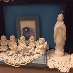 インテリア/天使、マリア様、魔女🧙♀️/我が家の階段のコーナー 蝋燭の🕯マリア様同じの投稿してた方がいら…