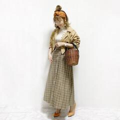 ファッション/おすすめアイテム 春のレトロコーデ💓  トレンドのオレンジ…(1枚目)