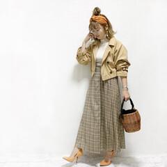 ファッション/おすすめアイテム 春のレトロコーデ💓  トレンドのオレンジ…(2枚目)