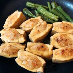夕食おかず 高野豆腐の肉詰め照り焼き まだ早いけど …