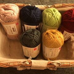 ナチュナルキッチン買った籠/DAISO 色んな色で編みたいから毛糸も買って来た …