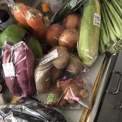 ランチ/購入品 空っぽにになった野菜室をいっぱいにする野…