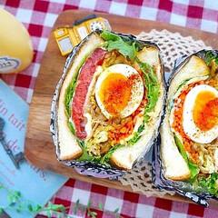 パン/わんぱくサンド/サンドイッチ/パンレシピ/半熟卵/カフェ/... 半熟卵と甘辛豚肉カレー味のわんぱくサンド…