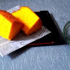 今日のおやつ/かぼちゃシフォン/かぼちゃ カボチャをたくさん頂いたのでシフォンケー…