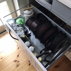 ティファール インジニオ・ネオ マホガニー・プレミア セット9 L63191 | ティファール(鍋、フライパンセット)を使ったクチコミ「フライパンやお鍋はIH下に収納しています…」
