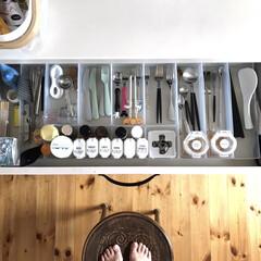 背面収納/クチポール/カトラリー/収納/キッチン収納/キッチン雑貨/... カトラリーはキッチン背面収納の1番上。 …