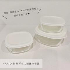 HARIO 耐熱ミニ角小鉢4個セット ホワイト 110ml ふた付 MKK-2012-OW 1個 新生活 | ハリオ(皿)を使ったクチコミ「ハリオの耐熱ガラス製保存容器を購入しまし…」