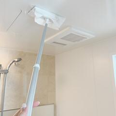 クイックルワイパー   花王(モップ、雑巾)を使ったクチコミ「見逃しがちですが、浴室の天井にはカビ菌が…」