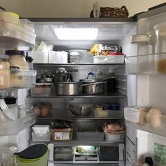 冷蔵庫/無印収納/お片付け/整理収納/無印良品/冷蔵庫収納 冷蔵庫の整理。 鍋を丸ごと入れたいので収…