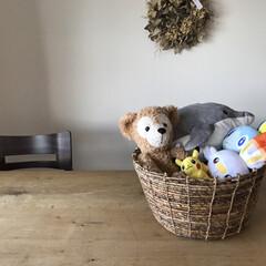 カゴ収納/おもちゃ収納/整理収納/IKEA/ぬいぐるみ収納/ぬいぐるみ/... ぬいぐるみ収納はIKEAのカゴに。 男の…(1枚目)