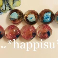 色が変わる/色変換/天然石アクセサリー/手作りアクセ 温度で色が変わる天然石入りのレジンを 作…