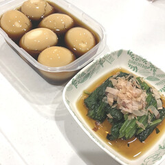 お浸し/ほうれん草/煮卵/めんつゆレシピ/めんつゆ/料理 【我が家のめんつゆレシピ】 煮卵とほうれ…