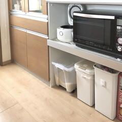 カップボード/kitchen/キッチン/キャスター/DAISO/ダイソー/... カップボードの下部分✨ ゴミ箱やお米、ビ…