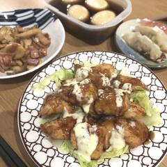 夜ご飯/エリンギバター醤油/エリンギ/煮卵/チキン南蛮/簡単/... チキン南蛮とエリンギバター醤油、煮卵! …