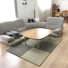和モダン/ユニット畳/マイホーム/リビング/おしゃれ/ニトリ ニトリのユニット畳を敷きました🎶 夏らし…