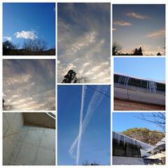 朝焼けの空/曇り空/青空 青空と曇り空☁️朝焼け  すごい「つらら…(1枚目)