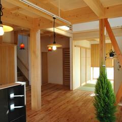 木の家/木族の家/木造住宅 家族3人で暮らすあったかい家。 緑の多い…