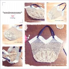 編みバッグ/ネットバッグ/タコ糸編み/編み物/かぎ針編み/エコバッグ タコ糸×レース糸で ネットバッグ編みまし…