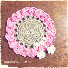 麻ひも編み/麻ひも雑貨/麻ひもコースター/編みコースター/お花のコースター こんばんは♡ 今日までお休みだった…(4枚目)