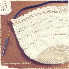 巾着バッグ/タコ糸編み/麻ひもバッグ/かぎ針編み/編み雑貨 麻ひも×タコ糸編みの巾着バッグです。  …(2枚目)