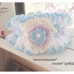 レース編み/シュシュ/編みシュシュ/編み物/編み花/かぎ針編み 思い出の編みシュシュです。  先日投稿し…