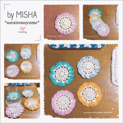 お花のコースター/編み花/ドイリーコースター/ドイリー/編み雑貨/編みコースター/... ふりふりお花の編みコースター( ˶˙ᵕ˙…