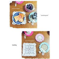 コースター/レース編み/麻ひも編み/編み雑貨/かぎ針編み/編み物/... 暮らしに編み雑貨を( ˶˙ᵕ˙˶ )  …(1枚目)