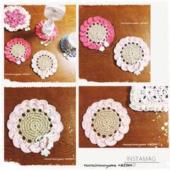 麻ひも編み/編みコースター/フリーマット/編み雑貨/かぎ針編み/コースター/... ふりふりお花のコースター𓂃𓈒𓏸 麻ひも編…
