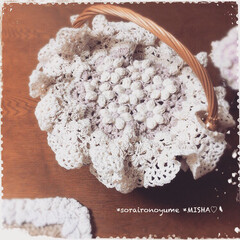 玉編みお花/目隠しカバー/かごカバー/かぎ針編み/モチーフ編み/編み花/... 長々編みの玉編みお花のかごカバー。  ベ…
