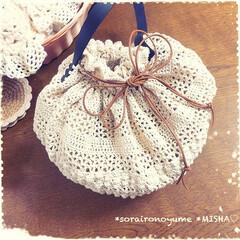 巾着バッグ/タコ糸編み/麻ひもバッグ/かぎ針編み/編み雑貨 麻ひも×タコ糸編みの巾着バッグです。  …(5枚目)