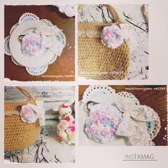 あみぐるみ/麻ひもバッグ/ハンドメイドアクセサリー/アクセサリー/ブローチ/かぎ針編み/... 以前作ったもので、 編みお花たちのブロー…