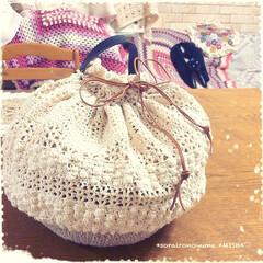 巾着バッグ/タコ糸編み/麻ひもバッグ/かぎ針編み/編み雑貨 麻ひも×タコ糸編みの巾着バッグです。  …(6枚目)