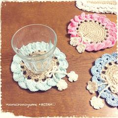 麻ひも編み/麻ひも雑貨/麻ひもコースター/編みコースター/お花のコースター こんばんは♡ 今日までお休みだった…(6枚目)