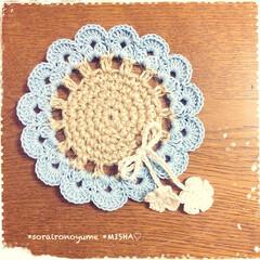 麻ひも編み/麻ひも雑貨/麻ひもコースター/編みコースター/お花のコースター こんばんは♡ 今日までお休みだった…(3枚目)