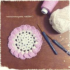 コースター/編み物大好き/あみもの/編み物/かぎ針編み小物/編み雑貨/... こんばんは(*˙˘˙*)ஐ  さっき、一…