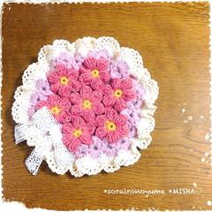 ポットマット/玉編み/モチーフつなぎ/かぎ針編み/編み物 長々編みの玉編みお花のモチーフつなぎの …