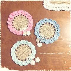 麻ひも編み/麻ひも雑貨/麻ひもコースター/編みコースター/お花のコースター こんばんは♡ 今日までお休みだった…(5枚目)