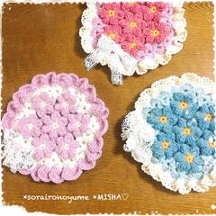 ポットマット/編み花/玉編み/モチーフ編み/編み物大好き/編み物/... 長々編みの玉編みお花のモチーフつなぎで …