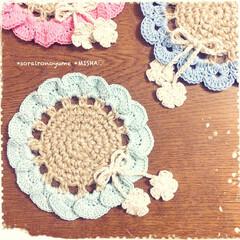 麻ひも編み/麻ひも雑貨/麻ひもコースター/編みコースター/お花のコースター こんばんは♡ 今日までお休みだった…(2枚目)