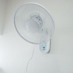 扇風機/DIY/夏対策/便利グッズ/購入品 下地や柱がない洗面所の一角にアンカーを使…(1枚目)